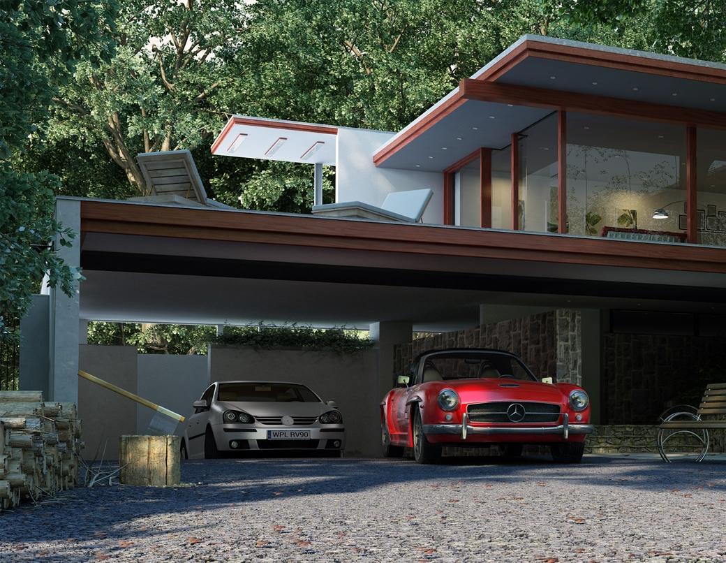 Grafika 3D | Animacje 3D | Projektowanie graficzne | Nowoczesny budynek w lesie | Wizualizacje 3D
