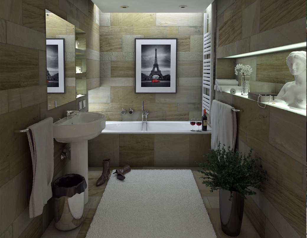 Grafika 3D | Animacje 3D | Projektowanie graficzne | Kamienna łazienka | Wizualizacje 3D