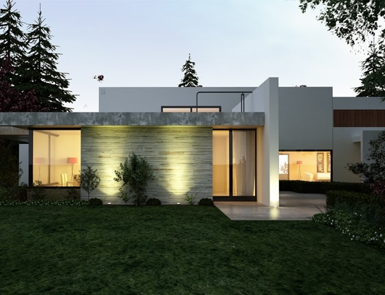 Grafika 3D | Animacje 3D | Projektowanie graficzne / Budynek mieszkalny w lesie / Wizualizacje 3D