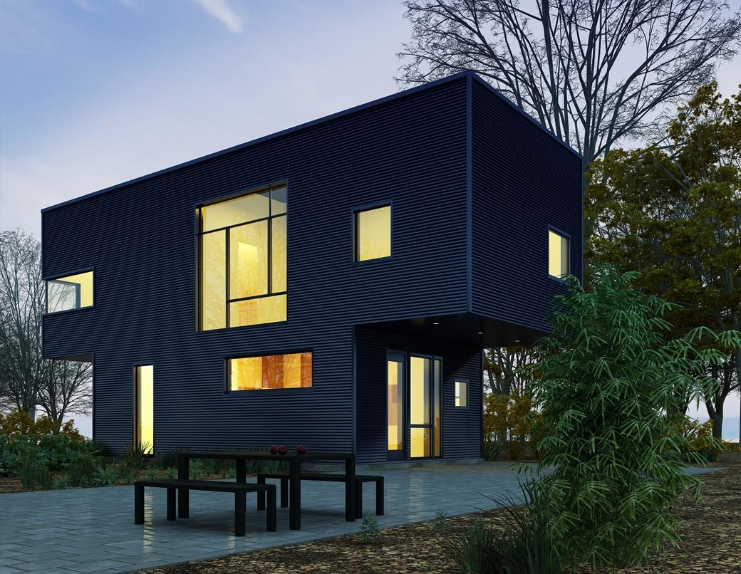 Grafika 3D | Animacje 3D | Projektowanie graficzne | Nowoczesny budynek - dom | Wizualizacje 3D