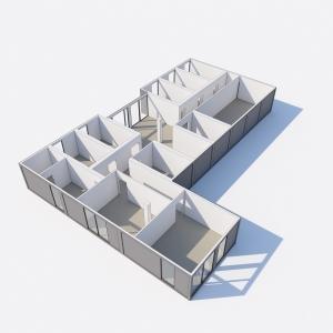 Grafika 3D | Animacje 3D | Projektowanie graficzne | Budynek z kontenerów modułowych | Wizualizacje 3D