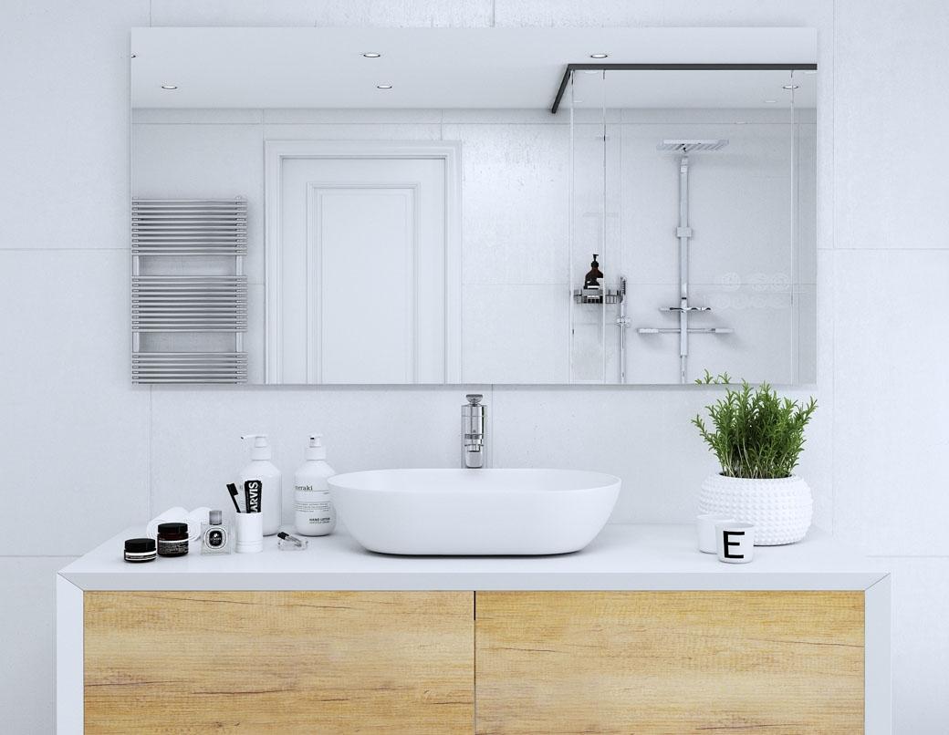 Grafika 3D | Animacje 3D | Projektowanie graficzne | Podświetlenie LED lustra łazienkowego | Wizualizacje 3D